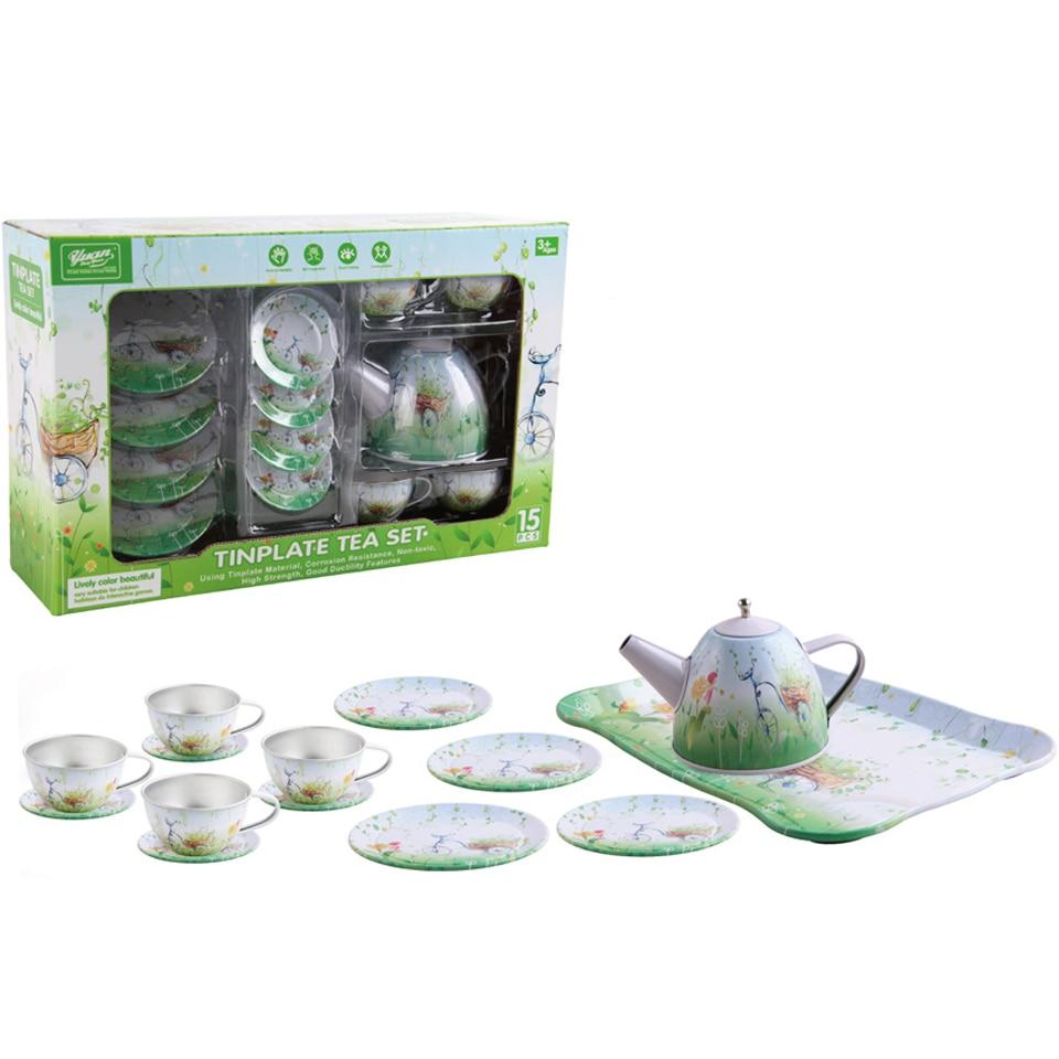 Treeby Pretend Play Toys Kitchen Set Tinplate Miniature Tea Sets Toy ...