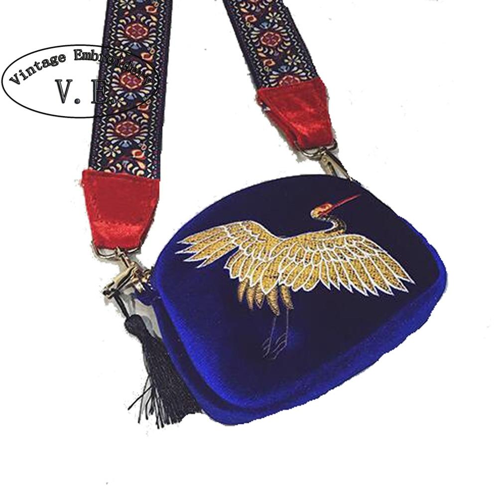 विंटेज मिनी मखमल कढ़ाई क्रेन खोल बैग जंगली पट्टा फैशन बोहेमिया कंधे बैग डिजाइनर लटकन Crossbody बैग