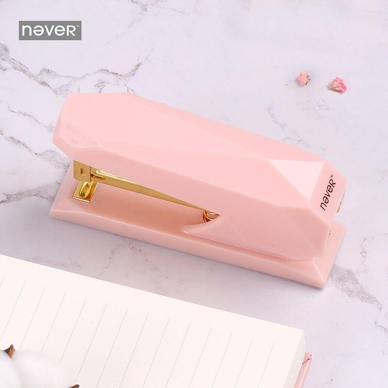 Light pink Diamond Stapler Bookbinding Machine Office Supplies Stapler Metal Paper Stapling Office Accessories Stapler Office цены онлайн
