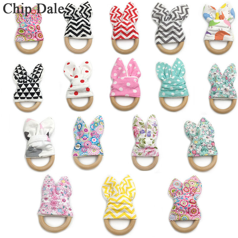 Chip Dale 1Pcs Baby Teether Boy Girl Safe Wooden Teething Ring Wood Circle Bunny Ear Teethers Baby Shower Gift