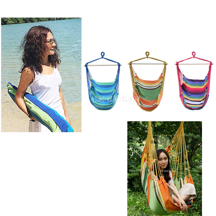Portable Garden Home Balcony Outdoor Wooden Rod Cotton Canvas Hanging Chair Swing Hammock 130cm/150cm Height For Adult/Child