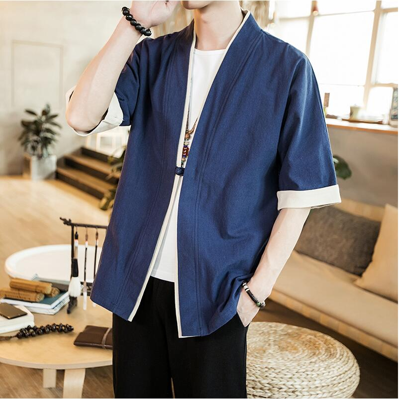 Traditional Chinese Tops For Men half Sleeve cotton Jackets Hanfu style one button casual Chinese Men Tang Suit Tops