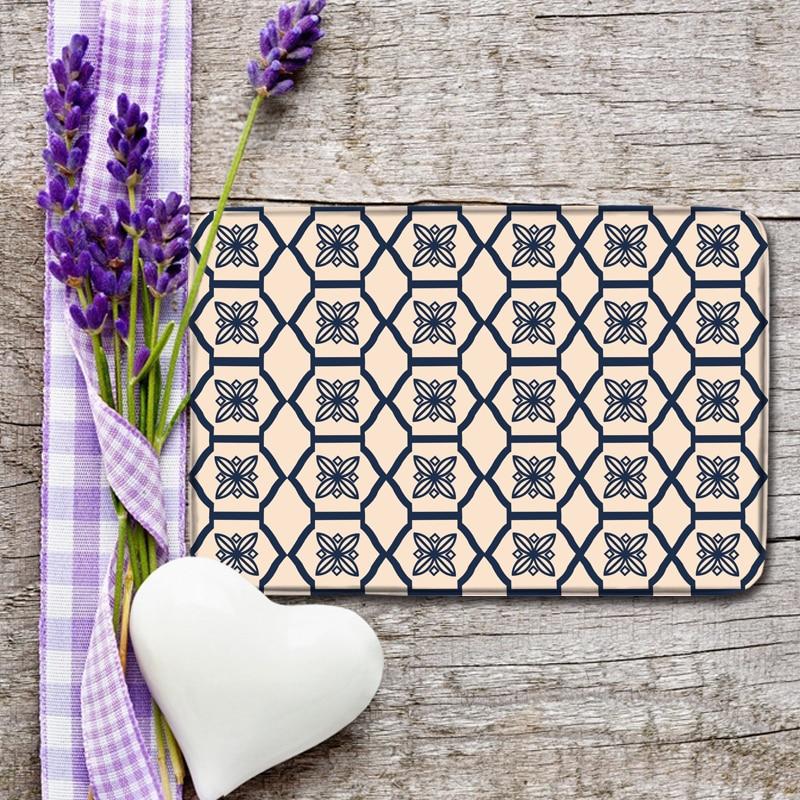 Vintage Printed Pattern Entrance Doormats Coral Fleece Balcony Mat