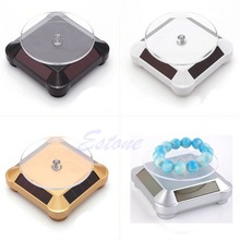 Solar Showcase 360 Turntable Rotating Jewelry Watch Ring Phone Stand Display