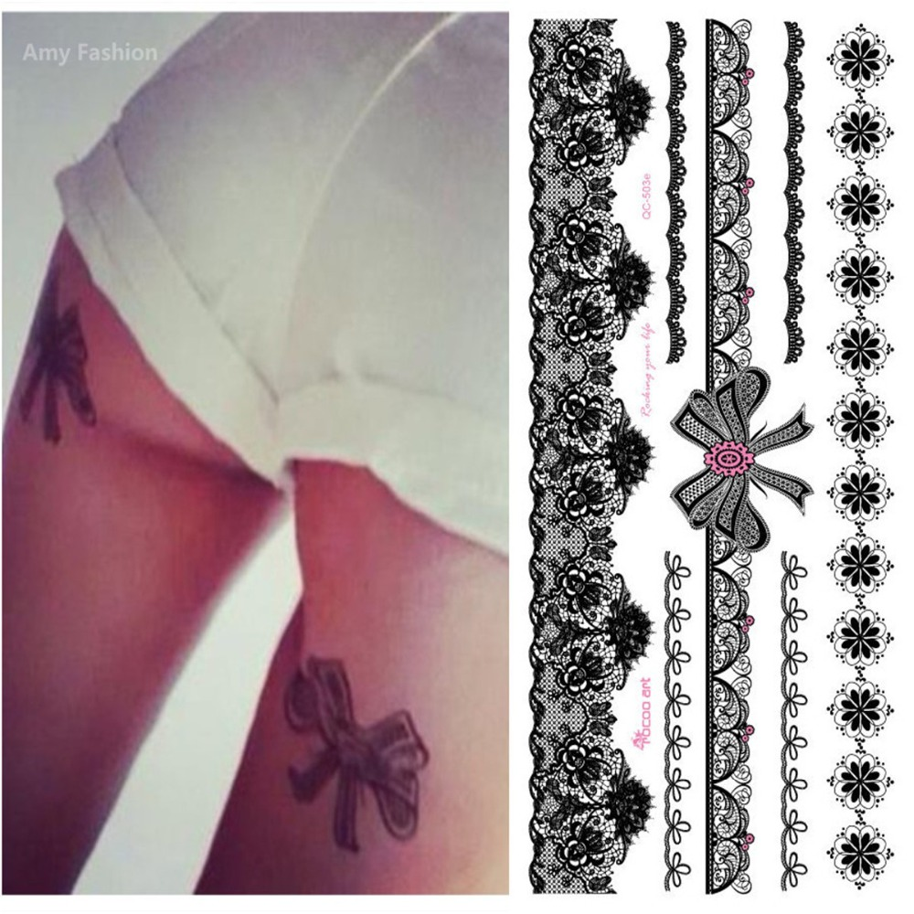 Newest Product Temporary Sexy Black Lace Bow Design Tattoo Sticker For Body Leg