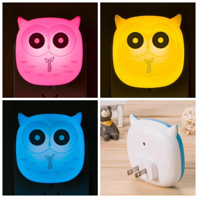 Baby Feeding Lighting LED Night Light 3D Owl Wall Socket Lamp For Bedroom Living Room Evening Ligting