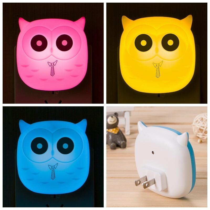 Baby Feeding Lighting LED Night Light 3D Owl Wall Socket Lamp For Bedroom Living Room Evening Ligting