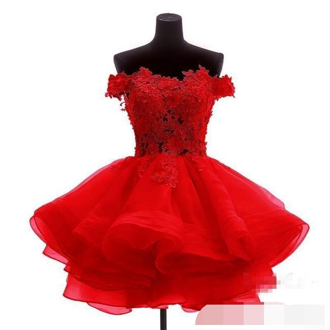 Robes de gala robe de soirée 2019 épaule dénudée courte robes de bal Sexy perlée dentelle Applique retour soirée robe de bal