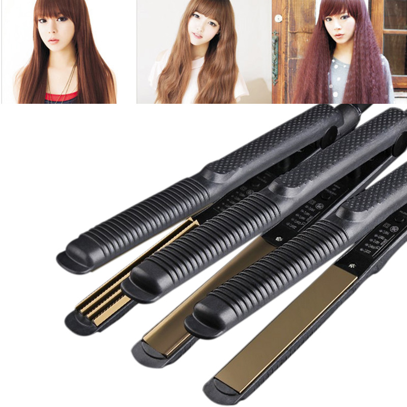Straightening Irons Temperature Control Titanium Electronic Hair Straighteners Corrugated Curler Crimper Waves Iron Tools HB88 temperature control electronic professional hairstyling hair straighteners 110 240v straightening corrugated iron styling tools