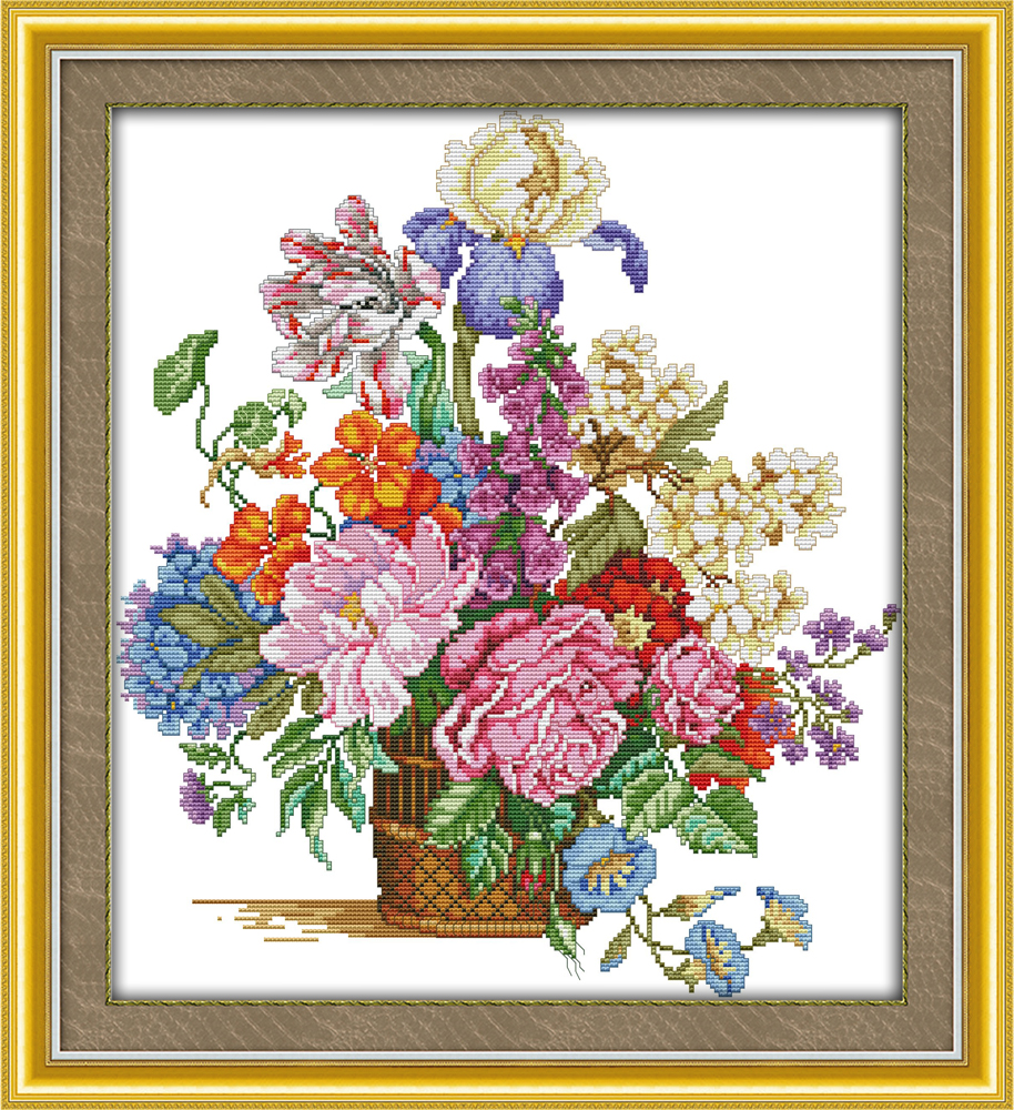 Beautiful Flower Basket 11CT 14CT Counted Cross Stitch