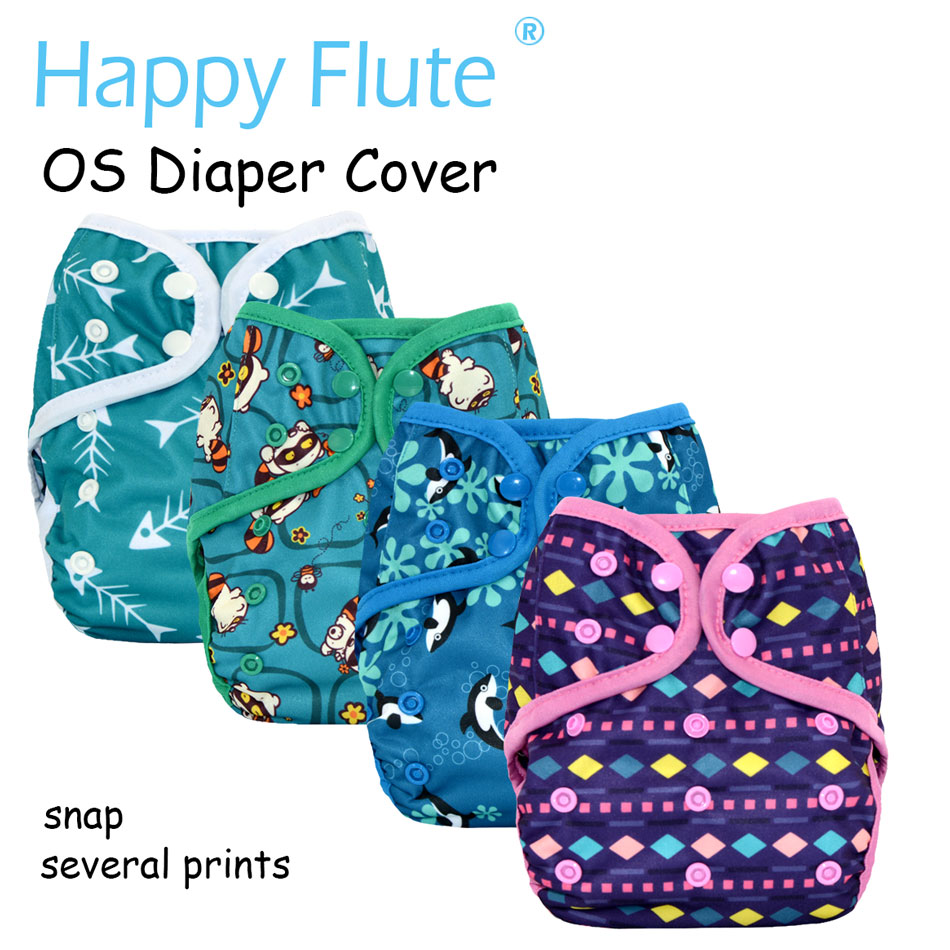 New Prints Happy Flute NEW OS baby cloth diaper cover ,waterproof breathable S M& L adjustable,fit 5-15kg baby adult baby incontinence diaper nappy pdm01 6 size s m m l l xxl