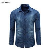 Aolamegs Men Denim Striped Shirt Dress Shirts Male Cotton Long Sleeve Mens Jean Shirt Classic Fashion