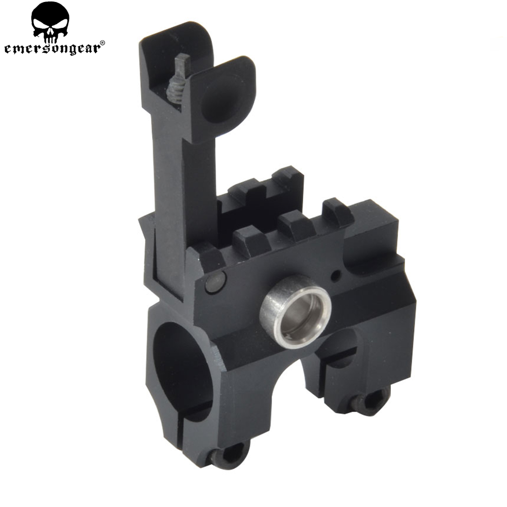 EMERSONGEAR Tactical Clamp-On Gas Block With Folding Front Sight CNC Aluminum Machined Iron For M4/M16 Airsoft AEG Accessories