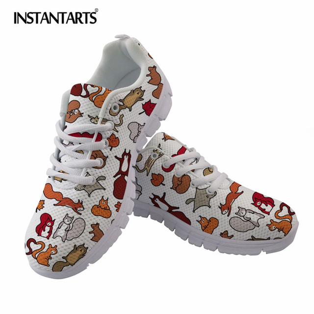INSTANTARTS Squirrels in Fall Doodle Art Print Women Flat Shoes Fashion  Autumn Woman Sneakers Ladies Casual Lace Up Flats Female c7756c42289b