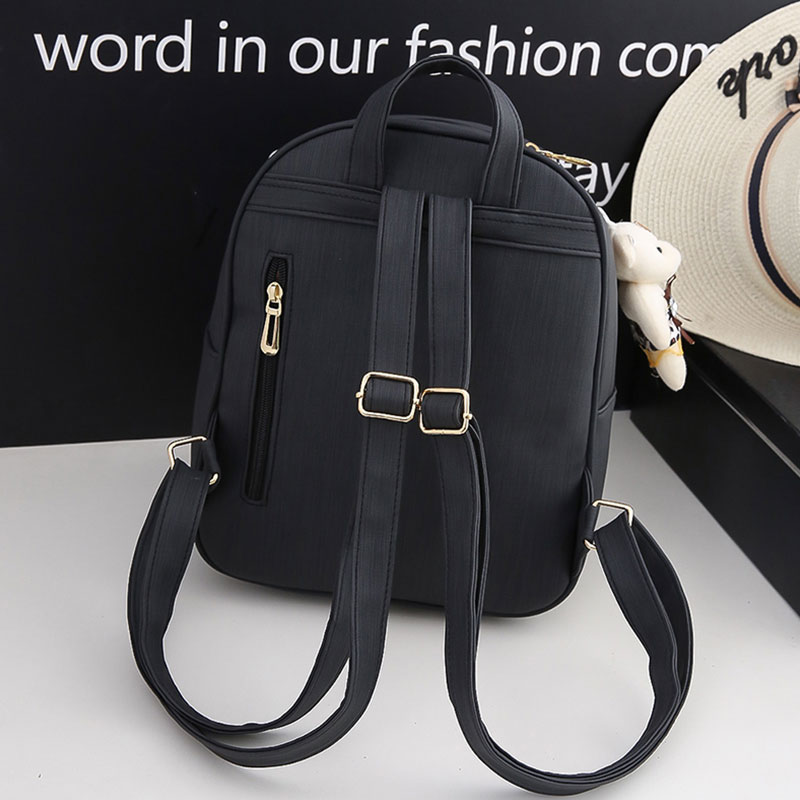 wulekue Embroidery Backpack Women Pu Leather Back Pack Famous Brand School Bags for Girls sac a dos femme with Purse and Bear