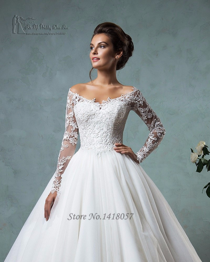 0696d3b2f75 White Lace Off The Shoulder Long Sleeve Wedding Dress - Data Dynamic AG