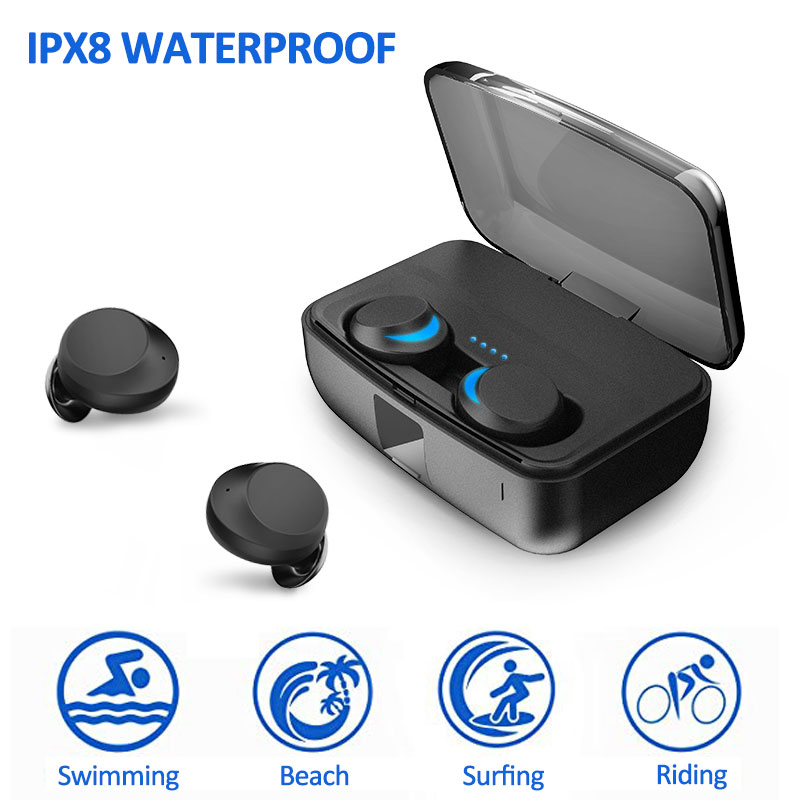 Écouteurs sans fil véritables IPX8 écouteurs Bluetooth imperméables pour la natation véritables écouteurs sans fil TWS 5.0 sans fil avec batterie externe