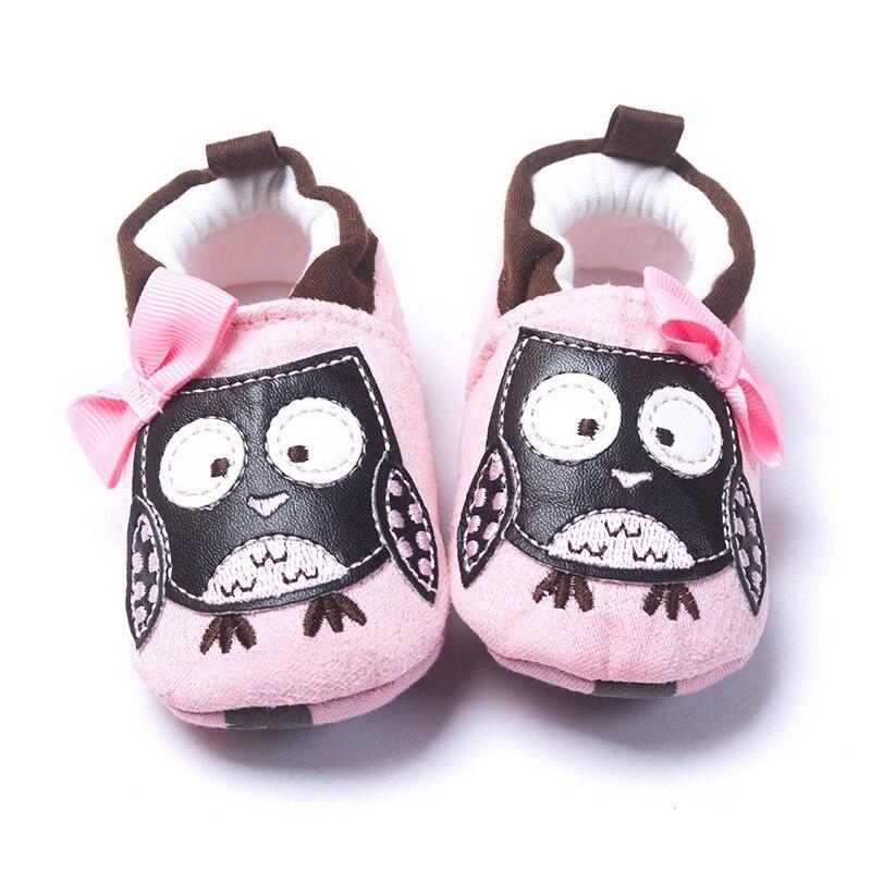 핑크 올빼미 여자 아기 신발 부드러운 단독 신생아 신발 비비 먼저 워커 양말 Prewalkers 유아 모카신 부드러운