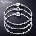 Anfasni nueva moda amor cadena de la serpiente plateada plata fit original brazalete de la pulsera del grano del encanto para las mujeres regalo 17 cm-21 cm