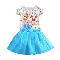 New Summer Snow Queen Elsa Dress Kids Clothing Polka Dot Cotton Baby Girl Party Dress Kids