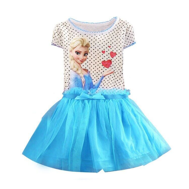 New Summer Snow Queen Elsa Dress Abbigliamento per bambini Polka Dot Cotton Baby Girl Party Dress Bambini Abiti per ragazze Vestidos Infantis