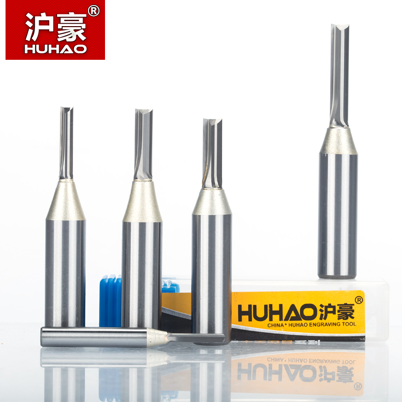 HUHAO 1pc 1/2 Shank TCT Straight Router Bits Woodworking Carving 2 Flute Milling Cutter Wood Engraving Carbide CNC Bits 1 2 tct tungsten carbide double two flute spiral straight cut router cnc bits 3mm 20mm