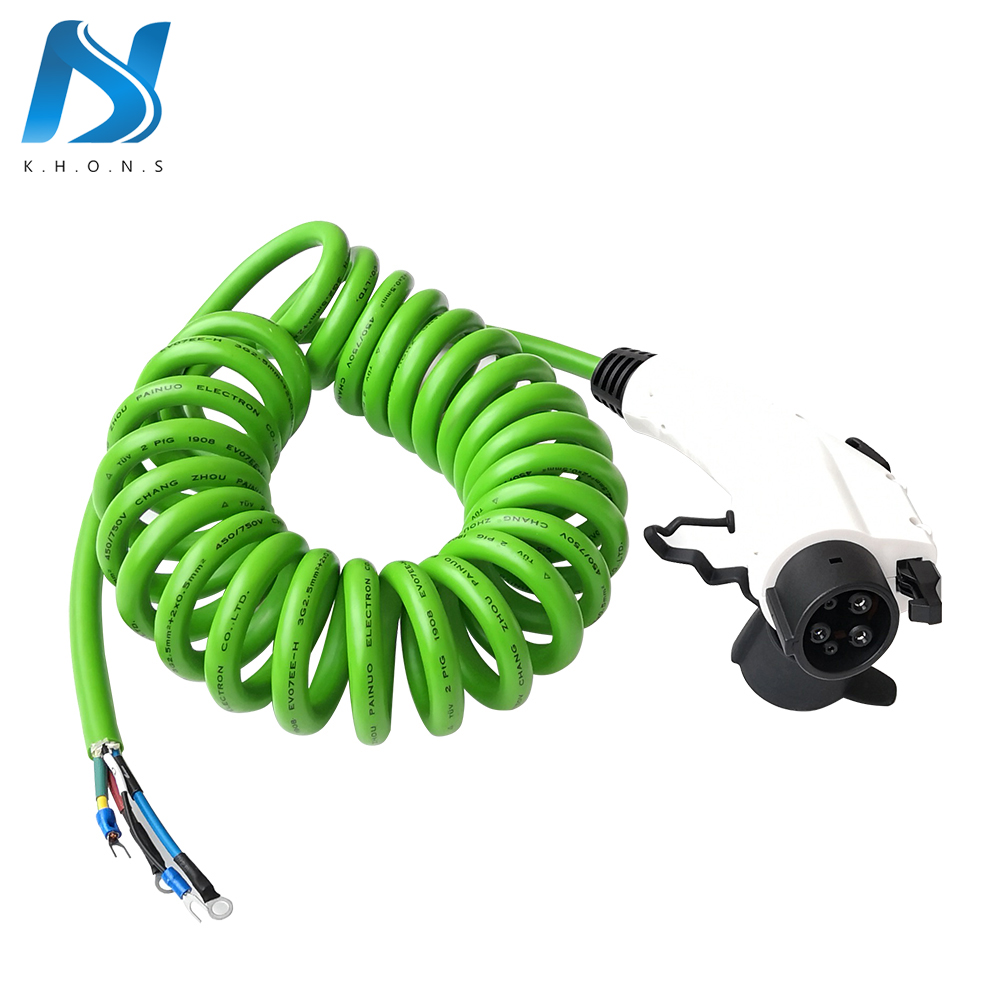 evse 16a type 1 sae j1772 plug with tpe spring coiled cable 16ft electric car vehicle [ 1000 x 1000 Pixel ]