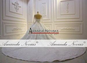 Image 5 - 2020 Luxury Shinny real photo Wedding Dress Three Quarter Sleeve Lace  beading Wedding Dress