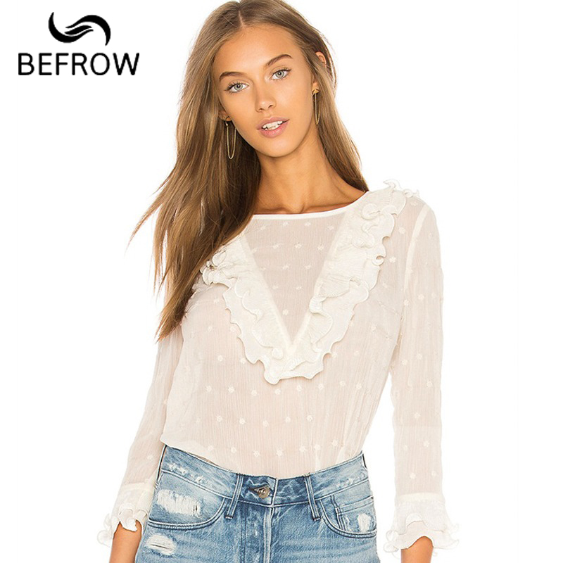 BEFORW Fashion Polka Dot Women Tops And Blouses Butterfly Sleeve Ruffles White Blouse Sexy Perspective Clothes Casual Shirt