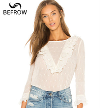 BEFORW Sexy Transparent Blouses Shirt