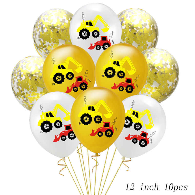 12 inch engineering car latex balloon set excavator birthday party decoration supplies confetti sequin balloon