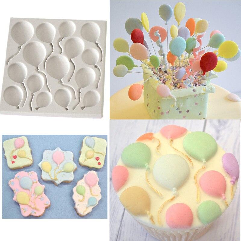 ᐃBirthday BALLOONS Fondant Cake Silicone Molds Cupcake Mould Baking ...