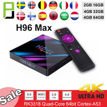 Smart tv Android 9.0 TV Box h96 MAX RK3318 4GB RAM 64GB H.265 4K Google Voice Assistant Youtube 4K Media Playe set top box h96 max smart tv box android 9 0 google voice assistant 4gb 64gb 3d 4k wifi bluetooth iptv subscription set top box media player