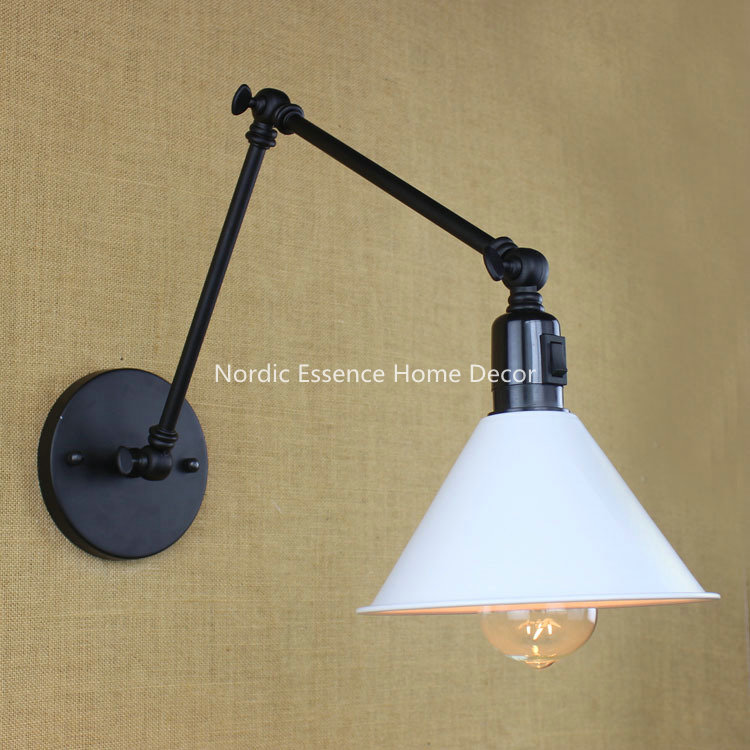 ФОТО EU American country loft room bedroom bedside lamp hotel Restaurant long arm double retro wall sconce with switch free shipping
