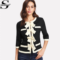 Sheinside Patchwork Bow Front Contrast Trim OL Style Blazer 2018 Half Sleeve Colorblock Slim Jacket Women