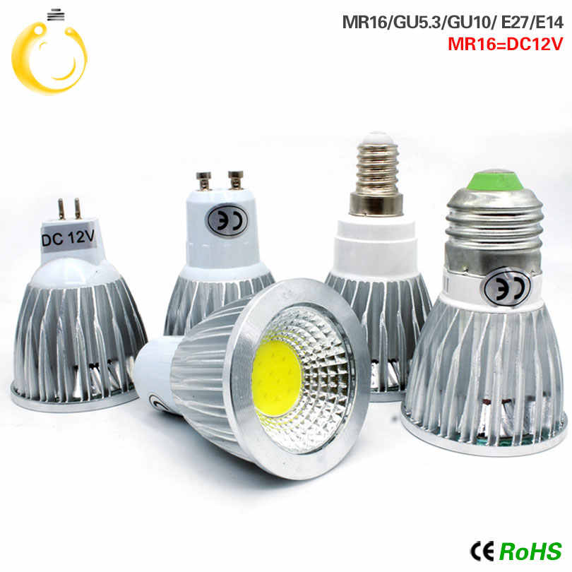 10PCS/LOT COB GU10 GU5.3 E27 E14 MR16 12V Lampada LED Lamp 220V 110V 9W 12W 15W Bombillas LED Spotlight Lamparas LED Bulbs Light