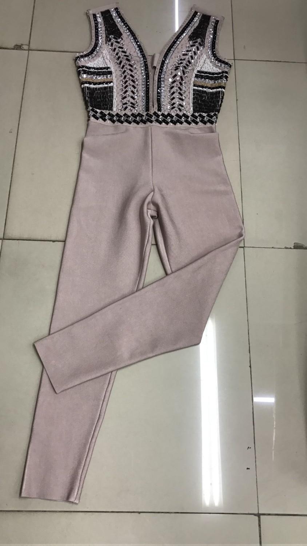 Hot Sell High Quality Black Khaki Sleeveless Manutal Beading Sheath Rayon Bandage Jumpsuit Full Length Evening Party Jumpsuit