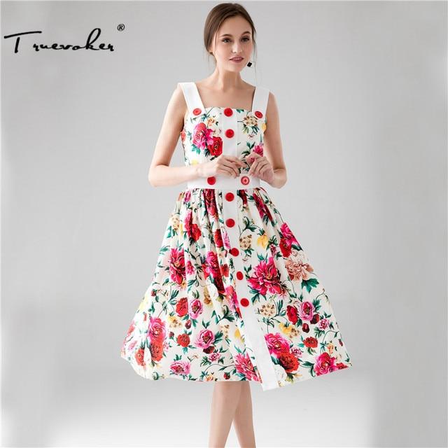 Truevoker Summer Designer Dress Women s High Quality Noble Fancy Floral  Printed Button Mid Calf Spaghetti Strap 08cf0de53856