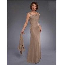 Lange Mutter der Braut Kleider mit Jacke Eine linie falten Perlen Plus Size Formale Braun Chiffon Hochzeit Abend Bräutigam kleid
