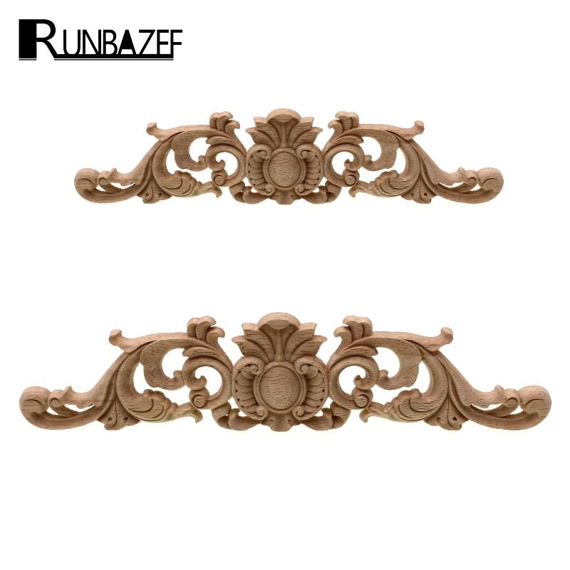 RUNBAZEF Woodcarving Decal Home Furniture Carved Applique Window Door Decor Wooden Figurines Miniatures Crafts Garden Decoration