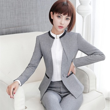 Elegant Grey Formal Blazers OL Styles Autumn Winter Jackets Coat For Ladies Office Outwear Female Tops Clothes Plus Size 4XL