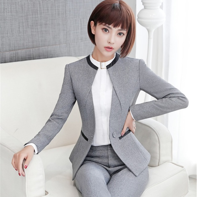 Elegante gris formal Blazers ol estilos Otoño Invierno