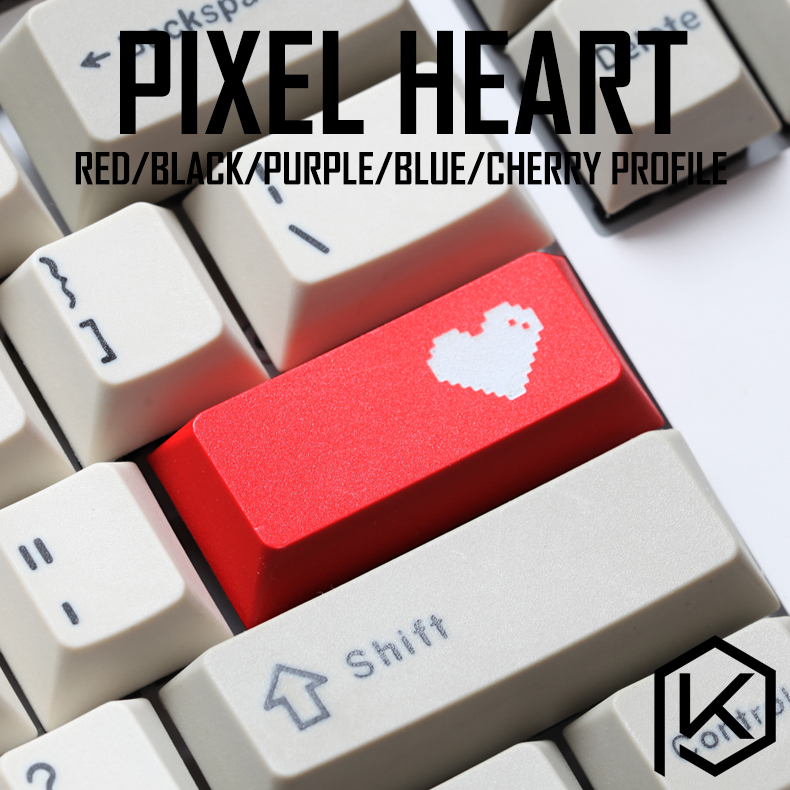 Novelty Cherry Profile Dip Dye Sculpture Pbt Keycap For Mechanical Keyboard Laser Etched Legend Pixel Heart Enter Black Red Blue