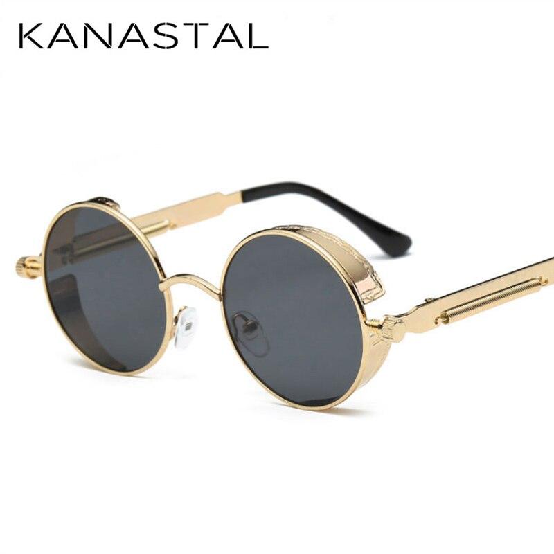 Brand In Designer kanastal Round Fashion Steampunk Retro Frame Vintage Mirror 48Off Men 74 Glasses Sunglasses Uv400 Us4 Women A54jLR