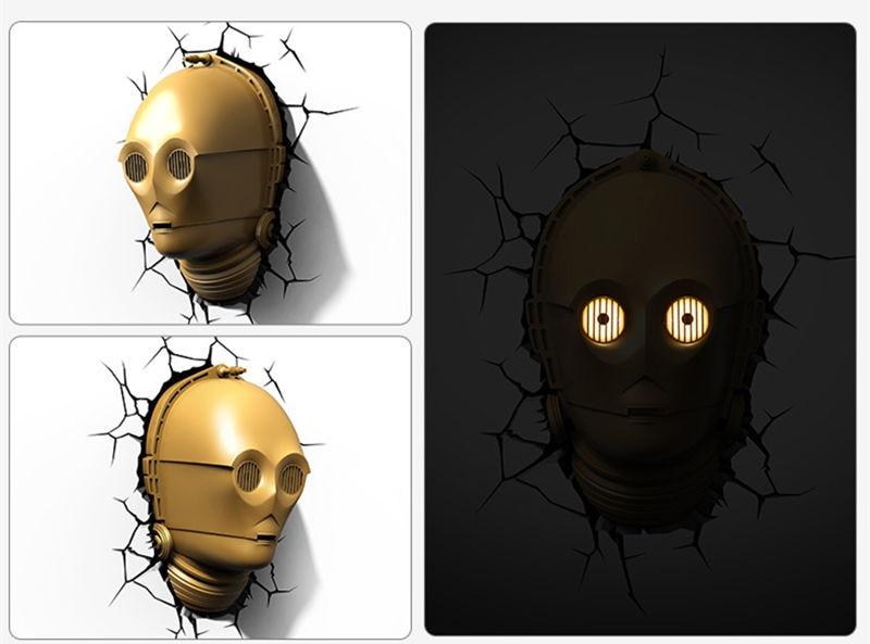 [New] Creative Star Wars See-Threepio C-3PO Robot figures model 3D Wall Lamp Unique LED light lamp Ornament Home room decoration стоимость