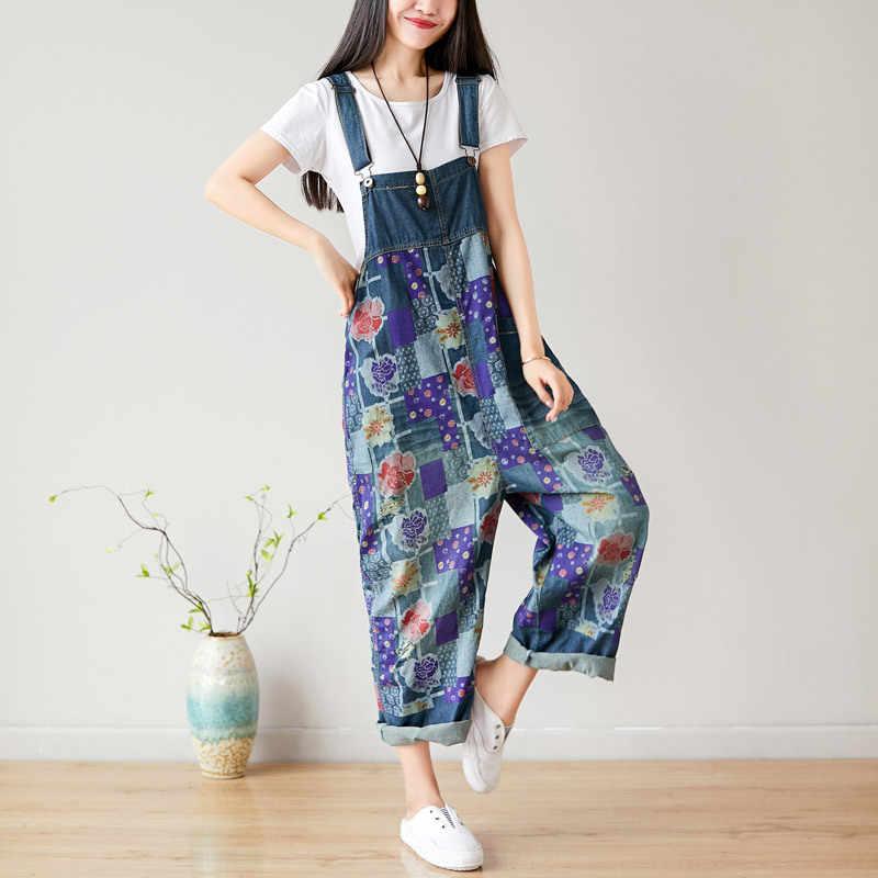 NINI WONDERLAND женские джинсовые комбинезоны брюки 2019 винтажные джинсы с цветами Комбинезоны женские большие размеры комбинезоны с вырезами тонкие комбинезоны