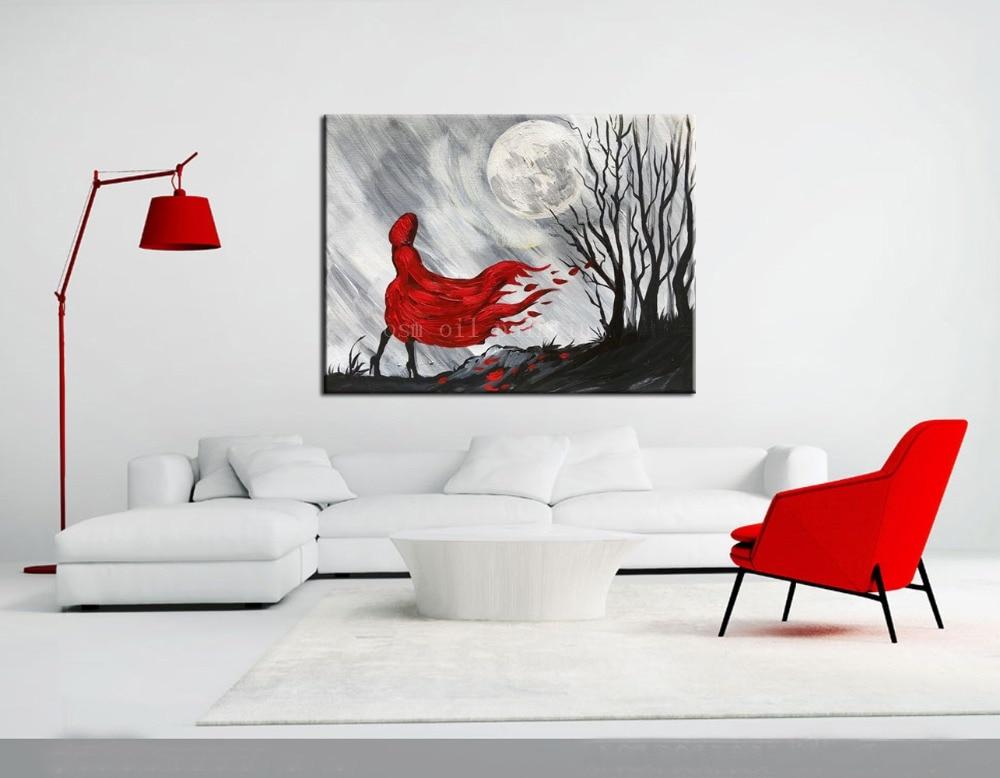 OSM Топ художника ручной работы черный и белый стиль одна леди в красном ните Луна картина маслом Ручная роспись стены искусства абстрактные
