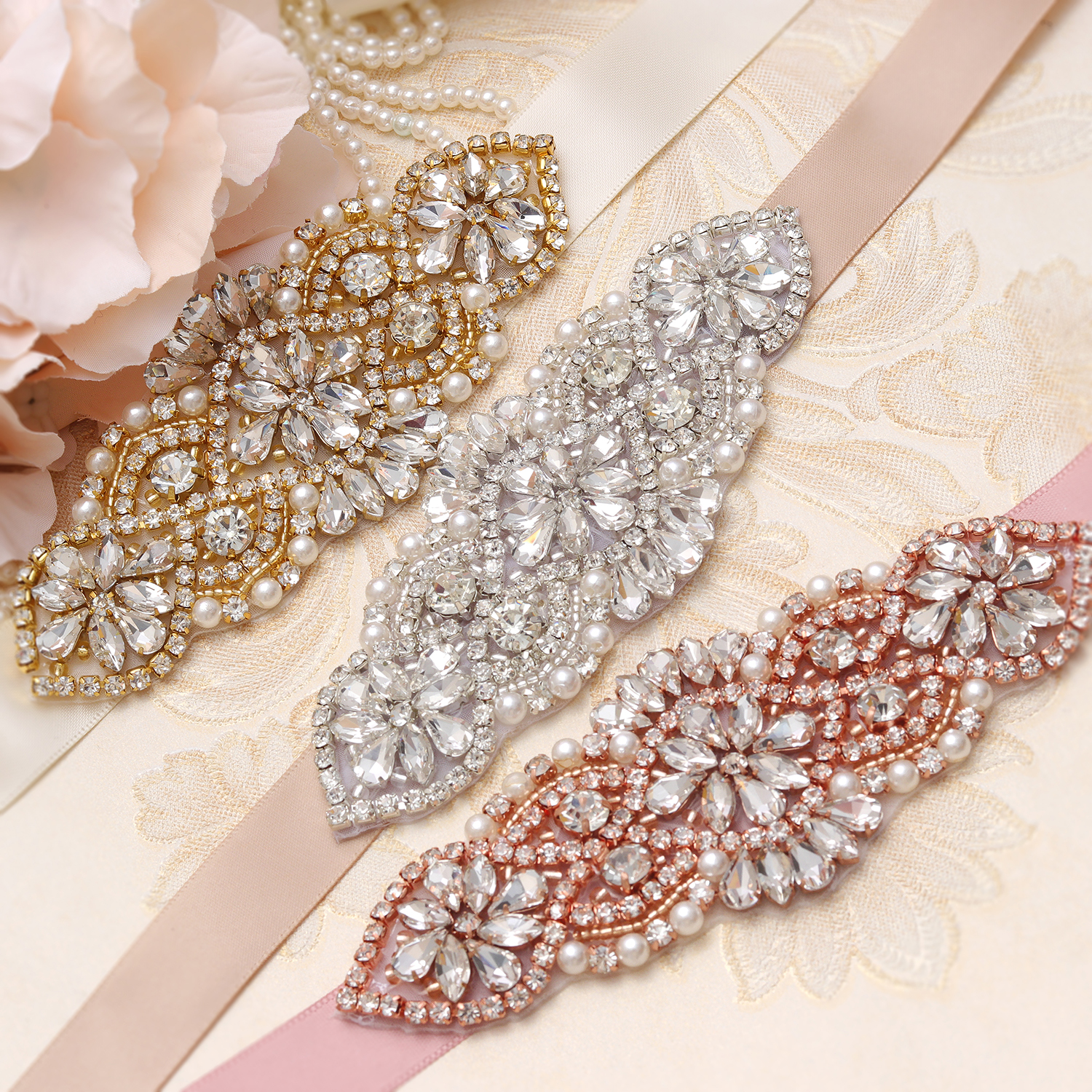 MissRDress Rhinestones Wedding Belt Handmade Pearls Bridal Belt Silver Crystal Sash Belt For Bridal Wedding Dresses JK852