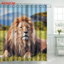 WONZOM Lion Polyester Fabric Shower Curtain Dog Bathroom Decor Shark Waterproof Animal Cortina De Bano With 12 Hooks Gift 2017 цена в Москве и Питере