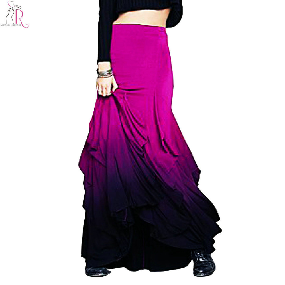 pink gradient color ruffled layered maxi pencil skirt high